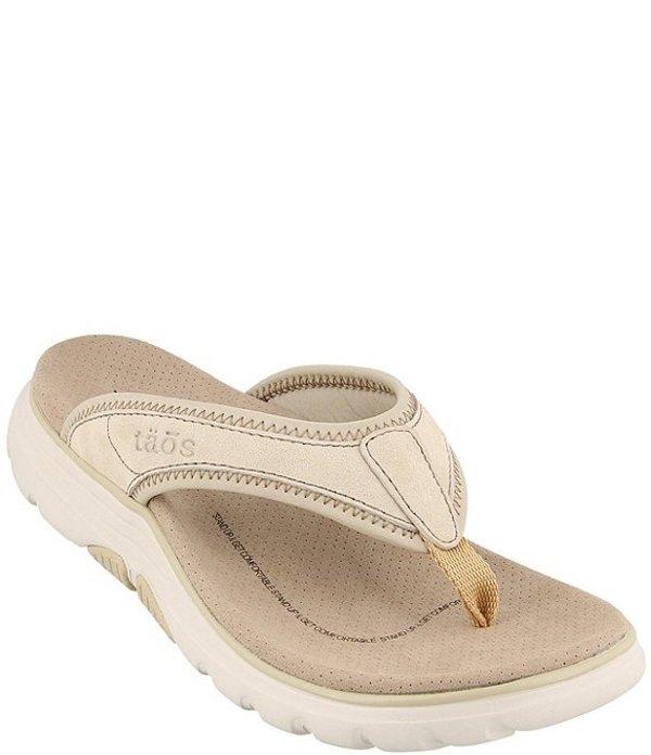 タオスフットウェア レディース サンダル シューズ Aura Suede Leather Thong Sandals Natural/Stone