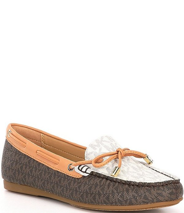 マイケルコース レディース スリッポン・ローファー シューズ MICHAEL Michael Kors Sutton Signature Logo Colorblock Moccasins Brown Multi