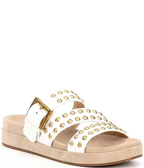 マイケルコース レディース サンダル シューズ MICHAEL Michael Kors Ansel Leather Studded Sandals Optic White