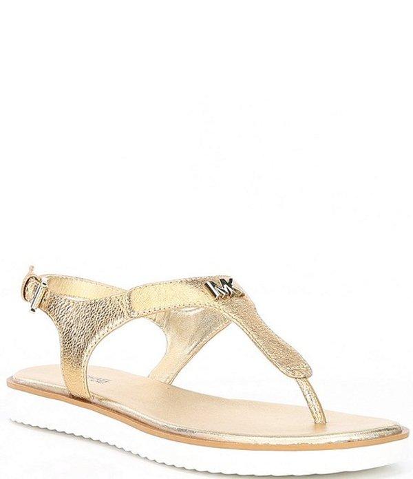 マイケルコース レディース サンダル シューズ MICHAEL Michael Kors Brady Metallic Leather Thong Sandals Pale Gold