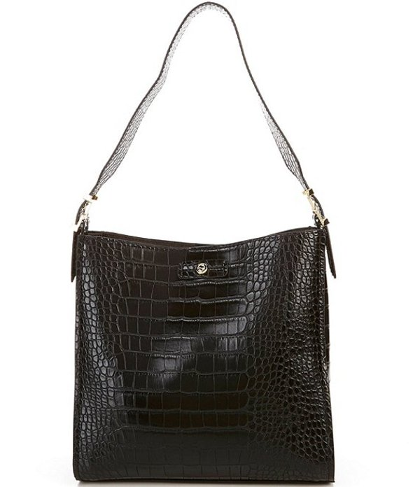ケイトランドリー レディース ショルダーバッグ バッグ Masie Medium Crocodile-Embossed Hobo Bag Black