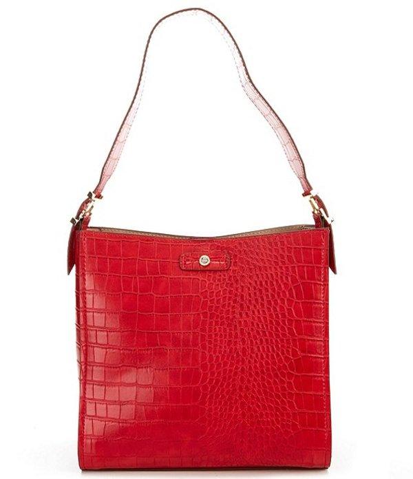 ケイトランドリー レディース ショルダーバッグ バッグ Masie Medium Crocodile-Embossed Hobo Bag Red