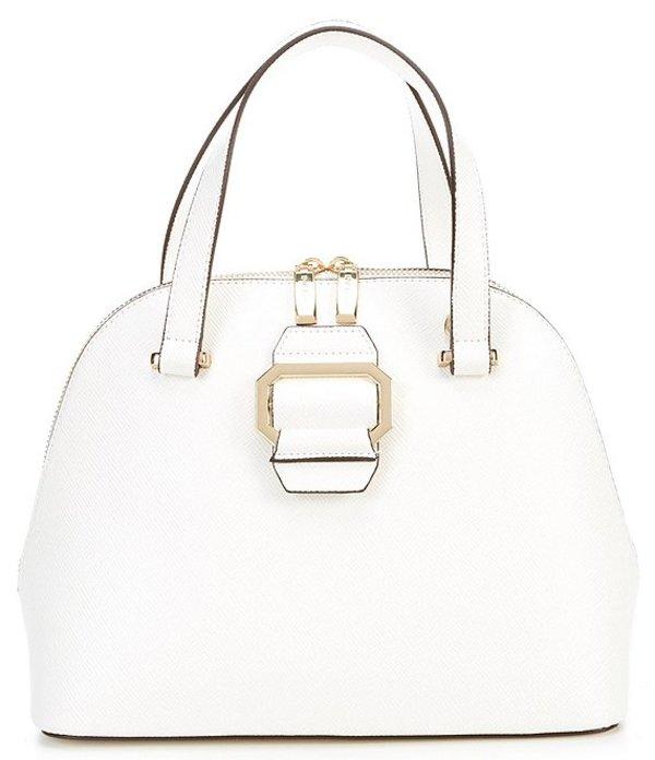 ジャンビニ レディース ハンドバッグ バッグ Large Buckle Up Top Zip Dome Satchel Bag White