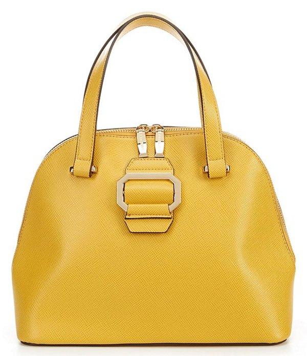 ジャンビニ レディース ハンドバッグ バッグ Large Buckle Up Top Zip Dome Satchel Bag Yellow