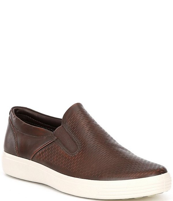 エコー メンズ スニーカー シューズ Men's Soft 7 Premium Leather Slip Ons Cognac