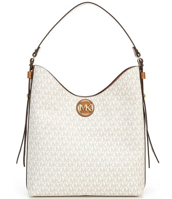 マイケルコース レディース ハンドバッグ バッグ MICHAEL Michael Kors Signature Bowery Large Hobo Shoulder Bag Vanilla/Acorn