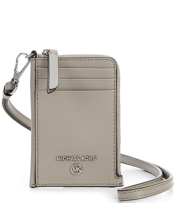 マイケルコース レディース ハンドバッグ バッグ MICHAEL Michael Kors Jet Set Charm Leather Small ID Lanyard Pearl Grey