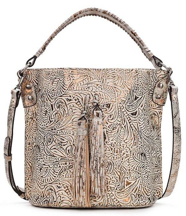 パトリシアナシュ レディース ショルダーバッグ バッグ Metallic Forest Tooled Collection Leather Snap Otavia Bucket Bag White