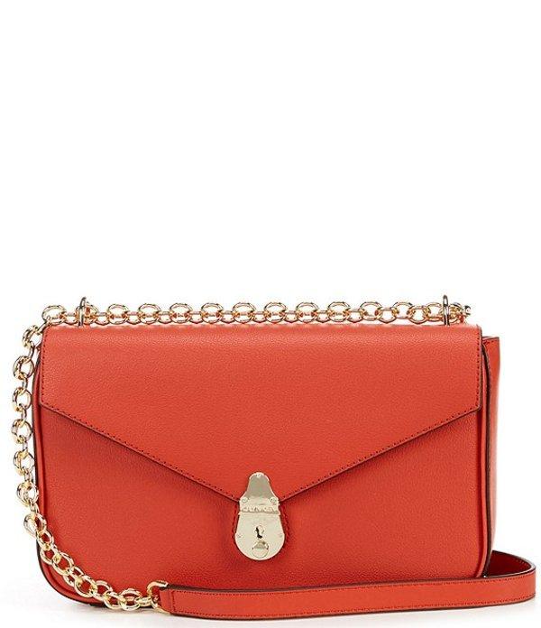 カルバンクライン レディース ショルダーバッグ バッグ Lock Flap Shoulder Bag Burnt Orange
