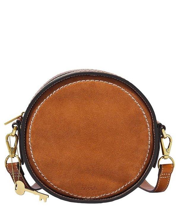 フォッシル レディース ショルダーバッグ バッグ Palmer Circle Leather Crossbody Bag Caramel Nubuck