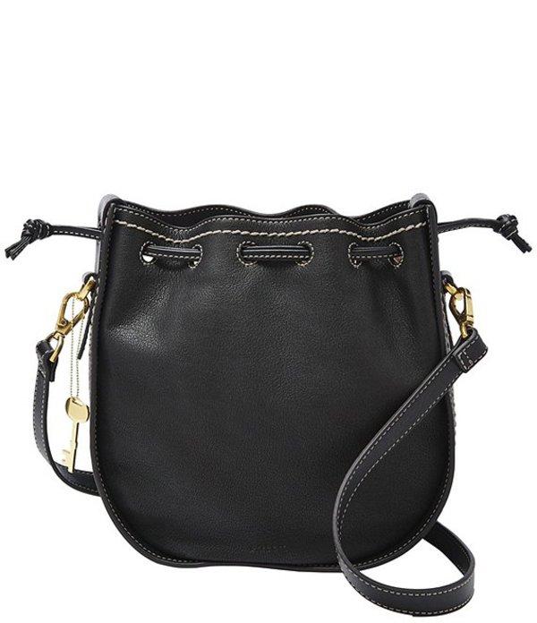 フォッシル レディース ショルダーバッグ バッグ Palmer Leather Drawstring Bag Black