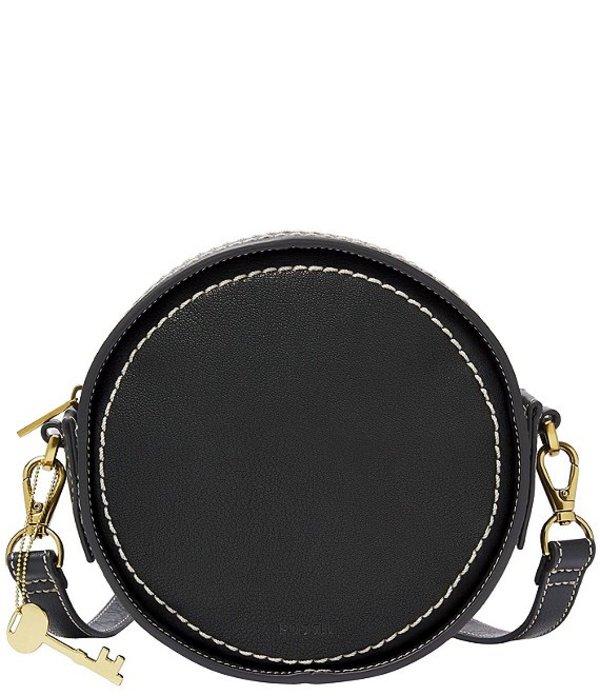 フォッシル レディース ショルダーバッグ バッグ Palmer Leather Circle Crossbody Bag Black
