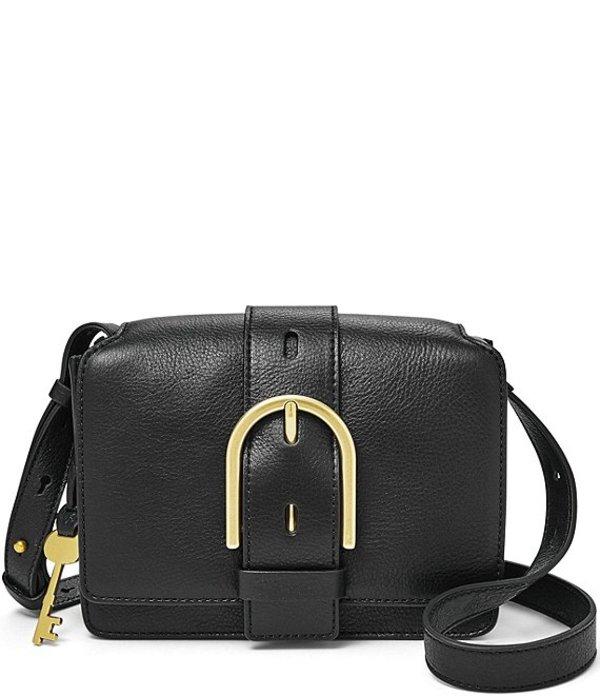 フォッシル レディース ショルダーバッグ バッグ Wiley Buckle Leather Snap Crossbody Bag Black