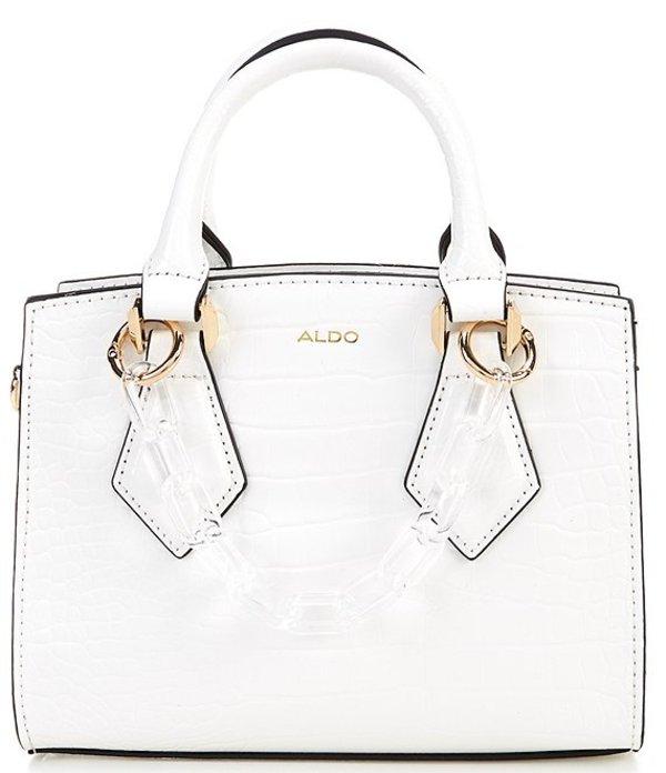 アルド レディース ハンドバッグ バッグ Marouba Crocodile-Embossed Mini Tote Bag White