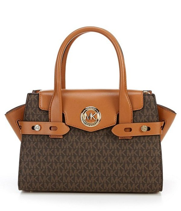 マイケルコース レディース ハンドバッグ バッグ MICHAEL Michael Kors Signature Carmen Small Flap Satchel Bag Brown/Acorn