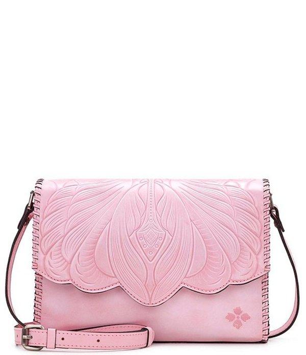 パトリシアナシュ レディース ショルダーバッグ バッグ Tooled Collection Sarola Leather Flap Shoulder Bag Pink
