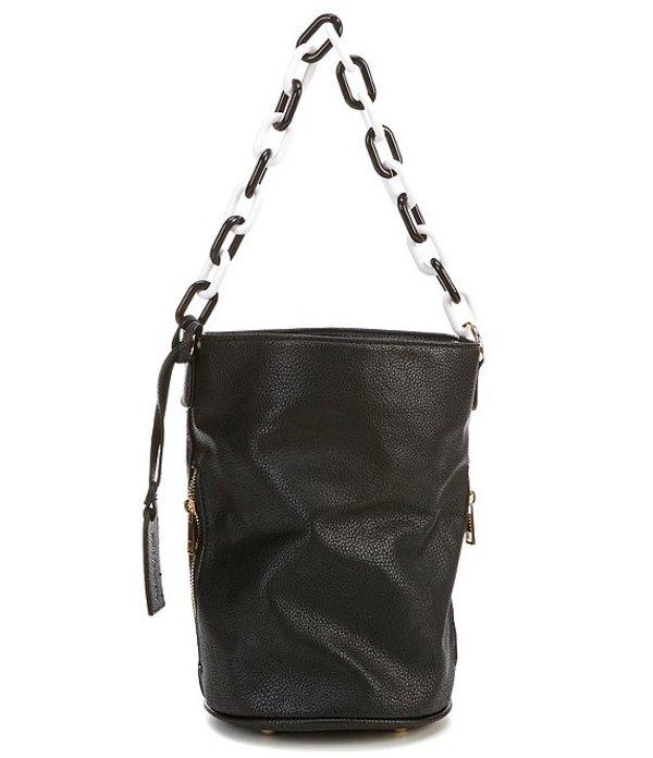 ソロソサエティ レディース ショルダーバッグ バッグ Fayre Bucket Chain Vegan Leather Crossbody Bag Black