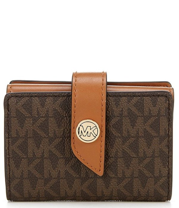 マイケルコース レディース ハンドバッグ バッグ MICHAEL Michael Kors Signature MK Charm Small Tab Card Case Wallet Brown/Acorn