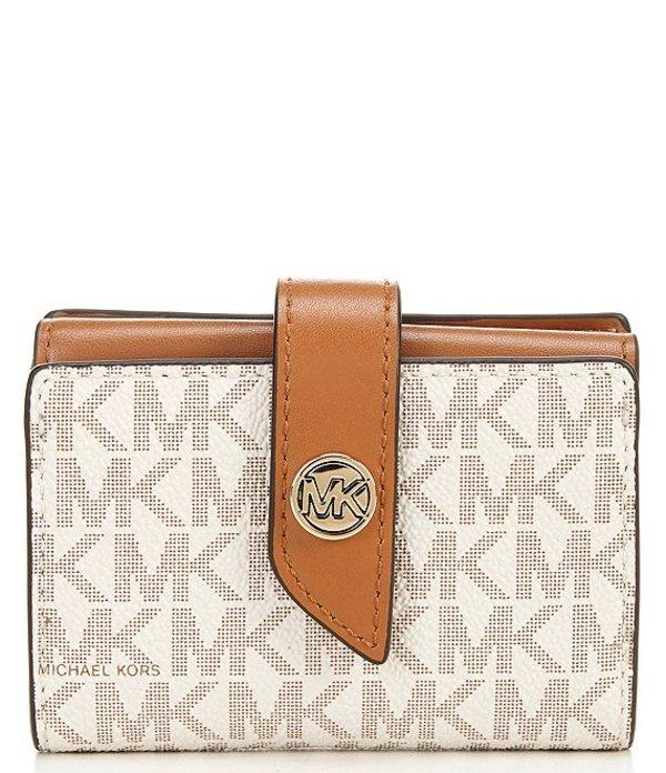 マイケルコース レディース ハンドバッグ バッグ MICHAEL Michael Kors Signature MK Charm Small Tab Card Case Wallet Vanilla/Acorn