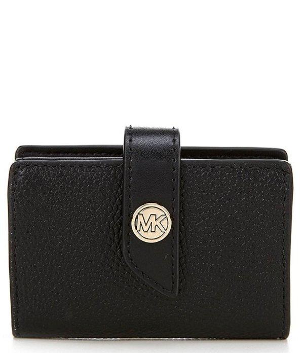 マイケルコース レディース ハンドバッグ バッグ MICHAEL Michael Kors MK Charm Small Tab Pebble Leather Card Case Black