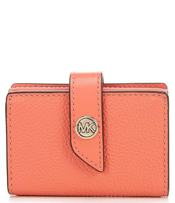 マイケルコース レディース ハンドバッグ バッグ MICHAEL Michael Kors MK Charm Small Tab Pebble Leather Card Case Pink Grapefruit
