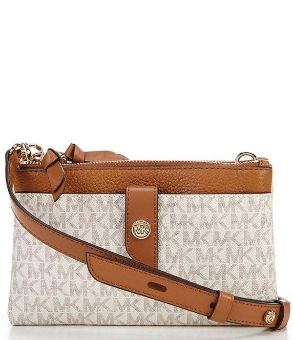 マイケルコース レディース ハンドバッグ バッグ MICHAEL Michael Kors Signature MK Charm Medium Tab Double Zip Phone Crossbody Bag Vanilla/Acorn