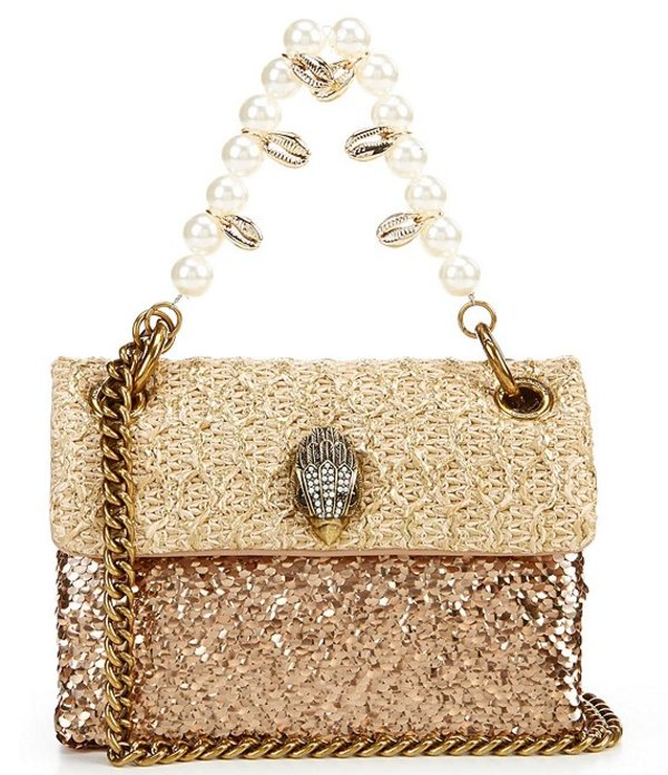 カートジェイガー レディース ショルダーバッグ バッグ Kensington Raffia Mini Sequin Pearl Shell Handle Crossbody Bag Bronze