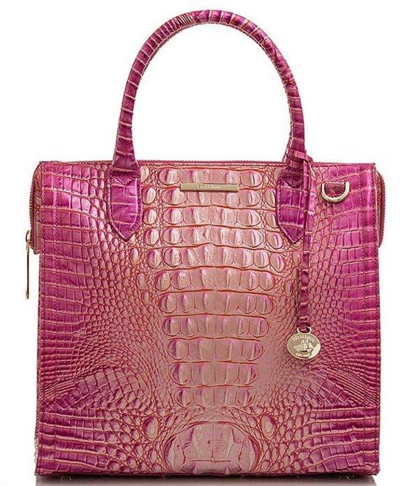 ブランミン レディース ハンドバッグ バッグ Melbourne Collection Caroline Crocodile-Embossed Satchel Bag Peony