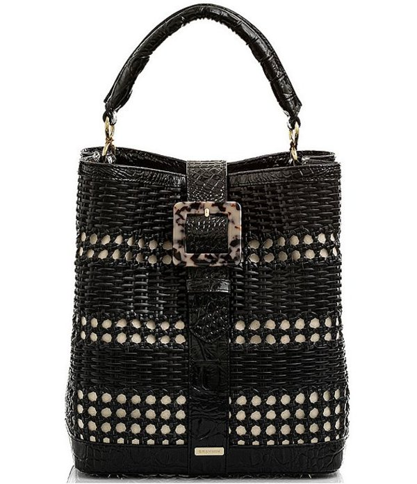 ブランミン レディース ショルダーバッグ バッグ Palmetto Collection Amelia Woven Straw Buckle Bucket Bag Black