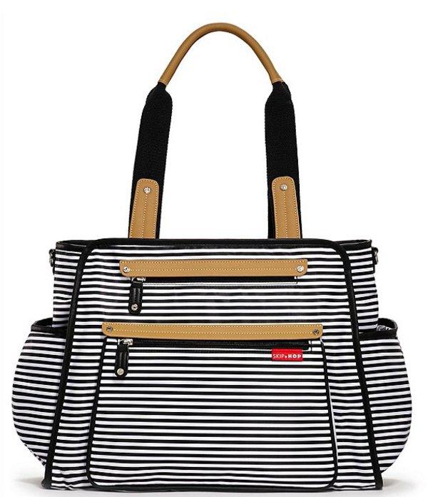 スキップホップ レディース ハンドバッグ バッグ Grand Central Take It All Striped Diaper Bag Black Stripe