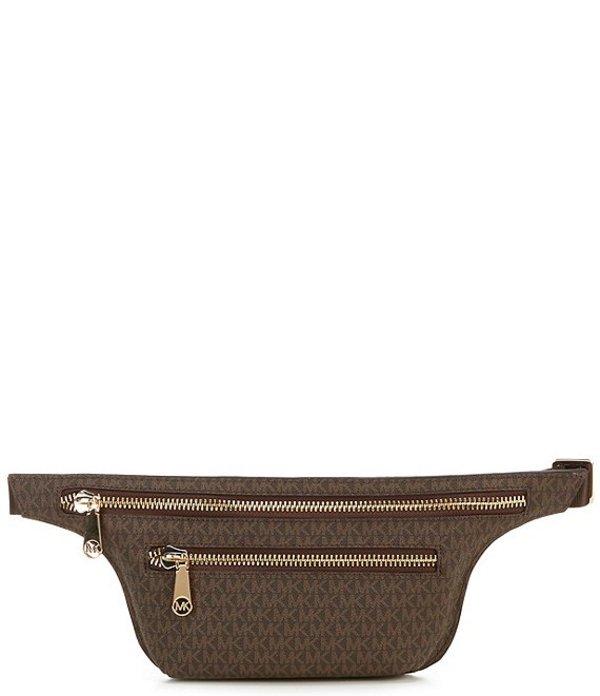 マイケルコース レディース ショルダーバッグ バッグ MICHAEL Michael Kors Signature Double Zip Belt Bag Chocolate