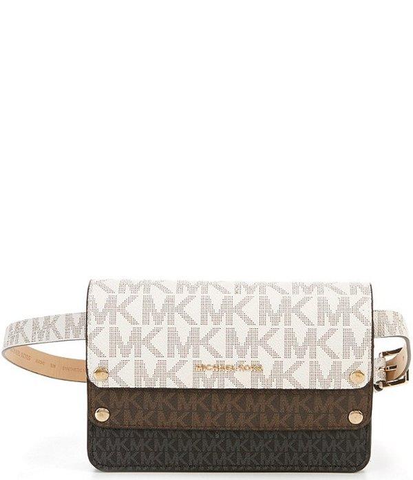 マイケルコース レディース ショルダーバッグ バッグ MICHAEL Michael Kors Signature Tri-Scale Belt Bag Vanilla