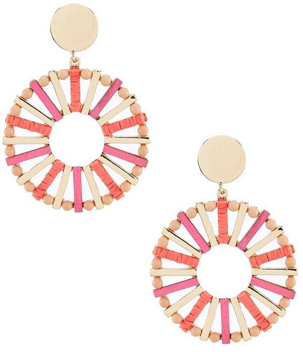 アンナ&アヴァ レディース ピアス・イヤリング アクセサリー Wood Circle Drop Earrings Multicolor