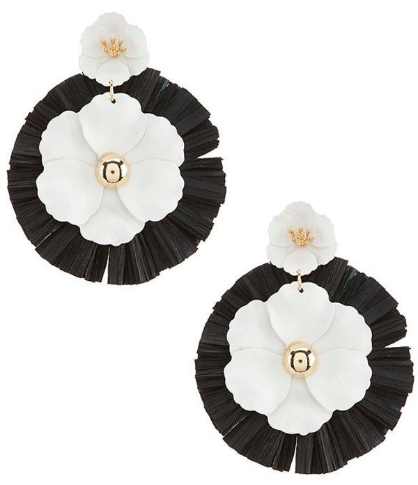 アンナ&アヴァ レディース ピアス・イヤリング アクセサリー Rafia Flower Earrings Black White