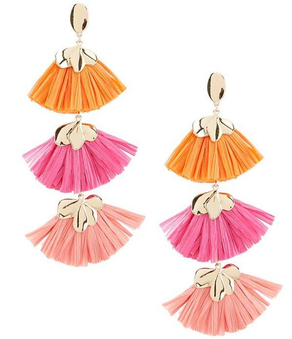 アンナ&アヴァ レディース ピアス・イヤリング アクセサリー Tiered Fan Raffia Earrings Pink