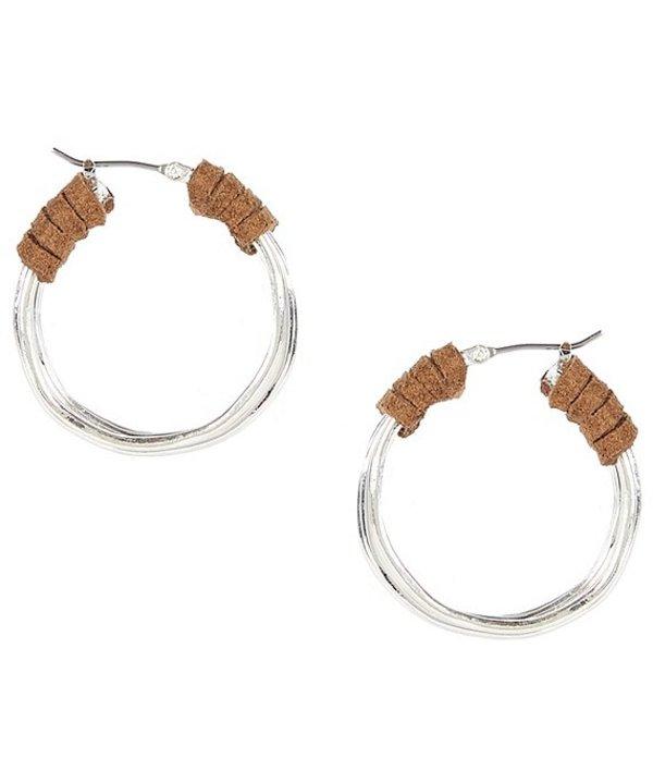 ロバート リー モーリス レディース ピアス・イヤリング アクセサリー Suede Wrapped Wire Hoop Earrings Silver