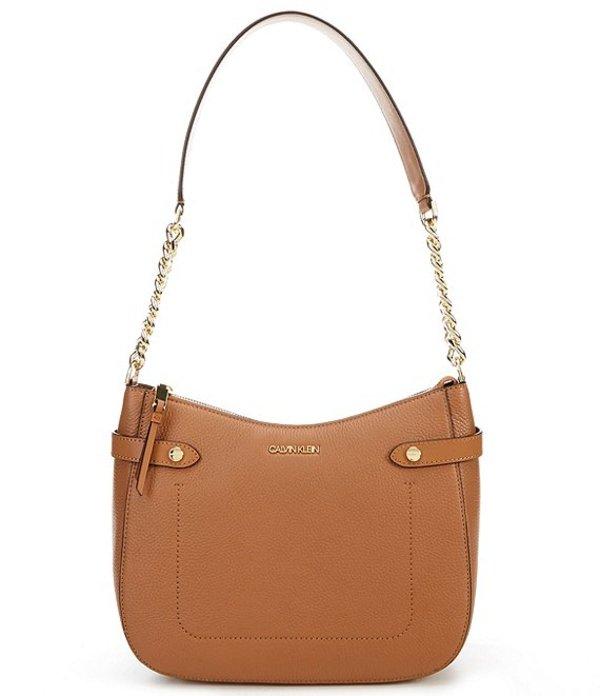 カルバンクライン レディース ショルダーバッグ バッグ Adrianna Leather Chain Zip Top Hobo Bag Caramel