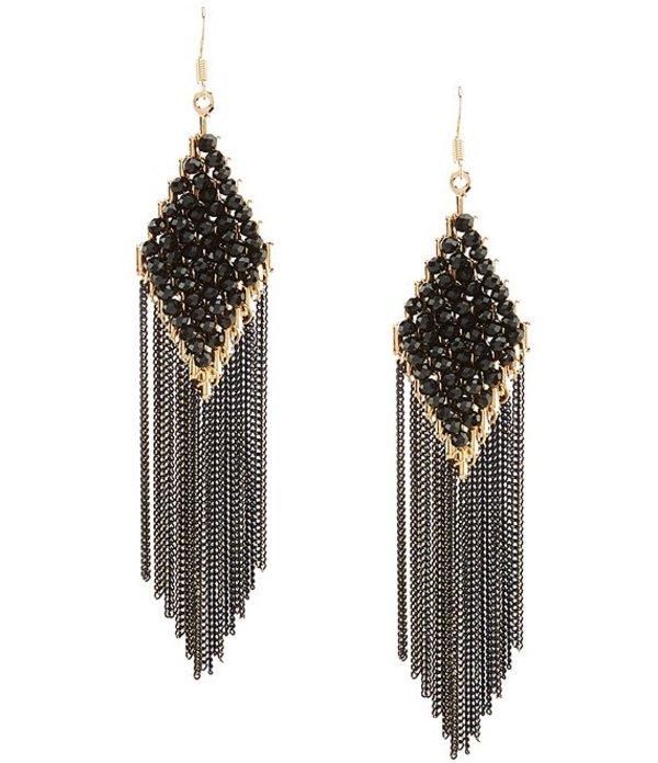 ナターシャ アクセサリー レディース ピアス・イヤリング アクセサリー Fringe Diamond Statement Earrings Black