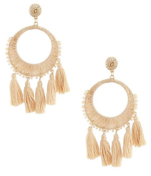 アンナ&アヴァ レディース ピアス・イヤリング アクセサリー Oversized Hoop Tassel Statement Earrings Taupe
