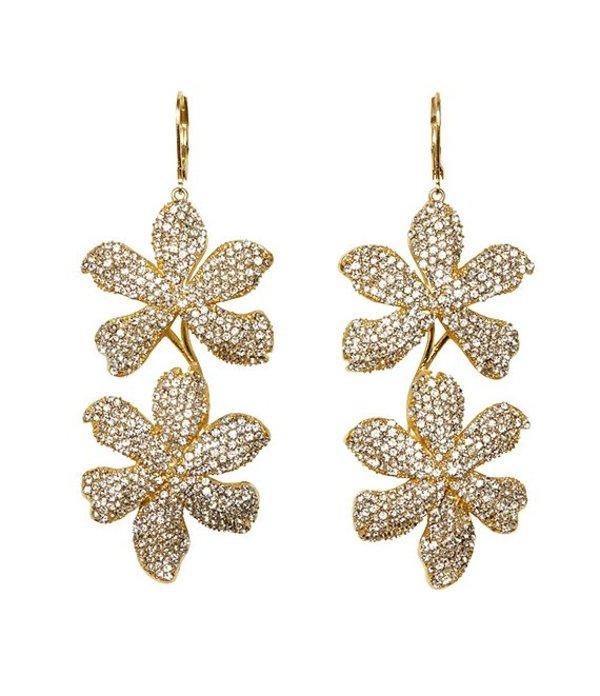 ヴィンスカムート レディース ピアス・イヤリング アクセサリー Crystal Double Drop Flower Earrings Gold