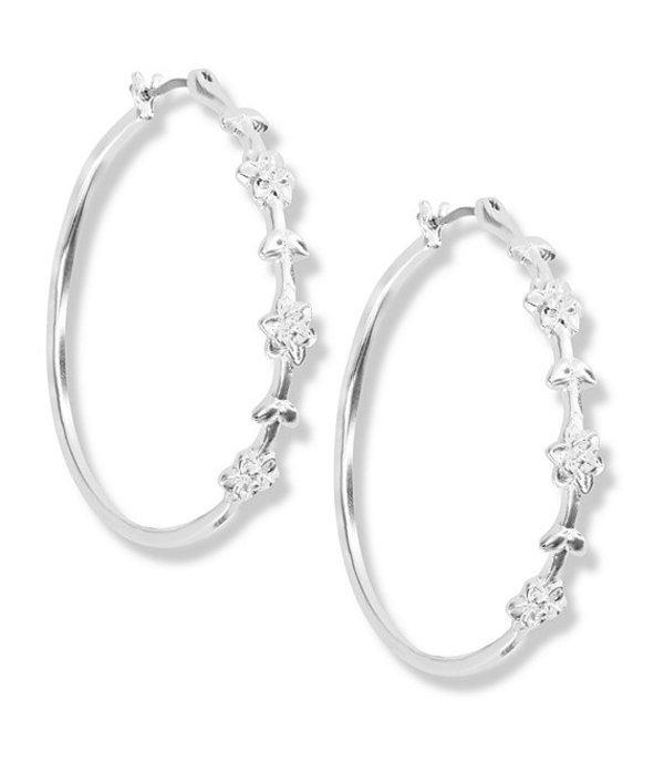 ラッキーブランド レディース ピアス・イヤリング アクセサリー Floral Hoop Earrings Silver