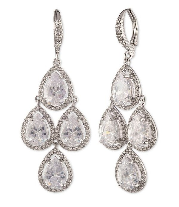 ジバンシー レディース ピアス・イヤリング アクセサリー Crystal Teardrop Chandelier Earrings Rhodium