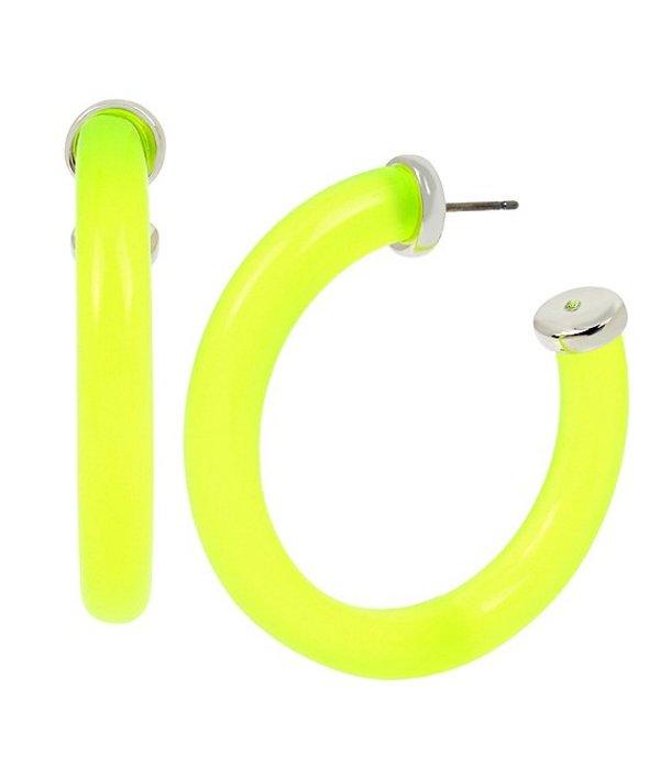 ケネスコール レディース ピアス・イヤリング アクセサリー Neon Hoop Earrings Yellow