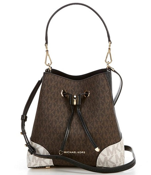 マイケルコース レディース ハンドバッグ バッグ MICHAEL Michael Kors Signature Mercer Gallery Small Colorblock Convertible Bucket Shoulder Bag Brown Multi