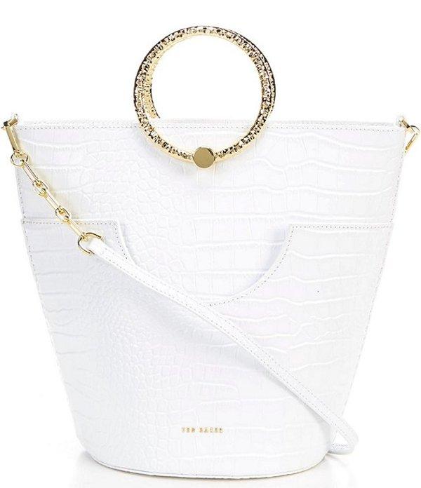テッドベーカー レディース ショルダーバッグ バッグ Maisee Ring Handle Bucket Bag Ivory