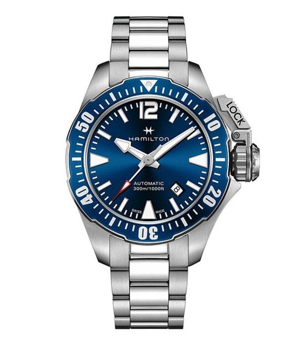 ハミルトン メンズ 腕時計 アクセサリー Khaki Navy Frogman Automatic Bracelet Watch Blue