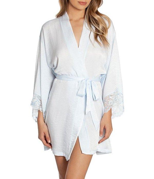 インブルーム レディース ナイトウェア アンダーウェア Crinkled Shimmer Satin Short Wrap Robe Blue