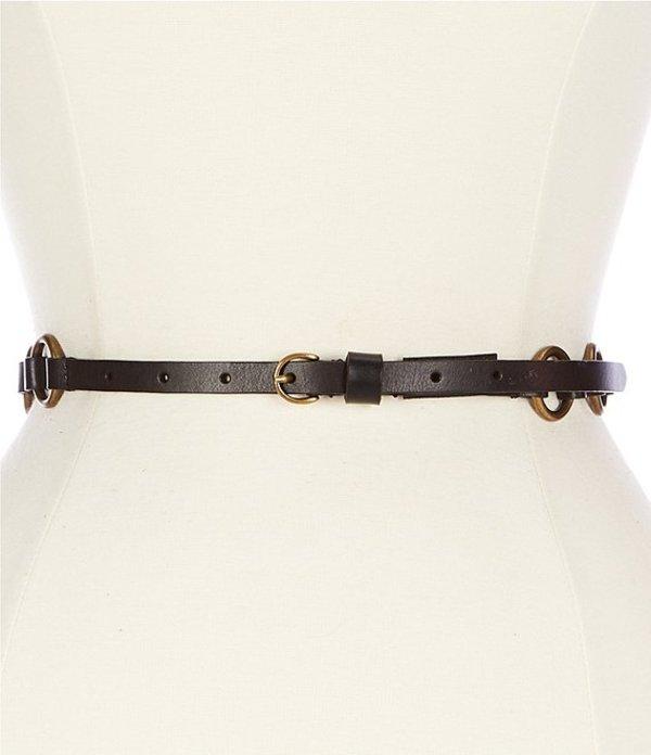 フライ レディース ベルト アクセサリー 0.5#double; Leather Ring Belt Black