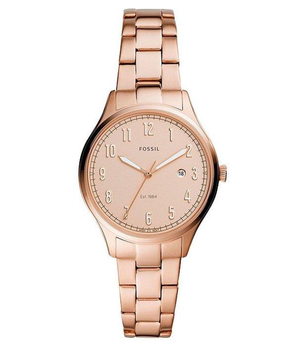 フォッシル レディース ブレスレット・バングル・アンクレット アクセサリー Lady Forrester Three-Hand Date Rose Gold-Tone Stainless Steel Watch Rose Gold