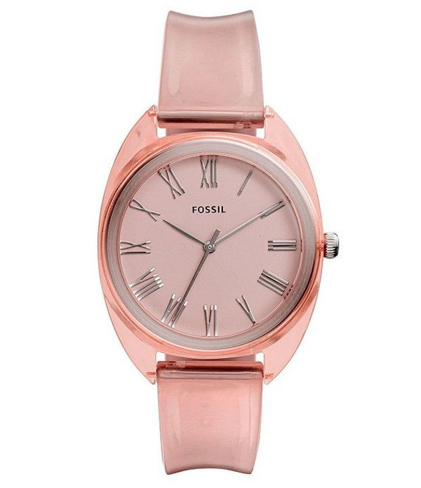 フォッシル レディース 腕時計 アクセサリー Jude Three-Hand Peach Silicone Watch Peach